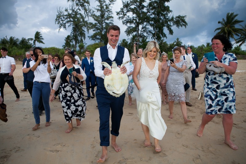 Carly & Kevin released a turtle at their wedding!
